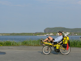 Becky at the northernmost road in Newfoundland